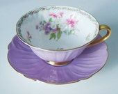 Vintage Lilac Purple Shelley Tea Cup and Saucer Set - Lavender Teacup Set - Purple Shelley Oleander Cup and Saucer