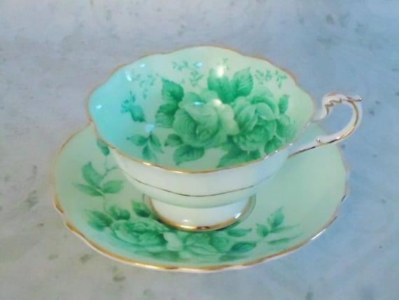 Mint Green Tea Cup and Saucer Set - Vintage Paragon Teacup and Saucer Set - Vintage Teacups and Saucers