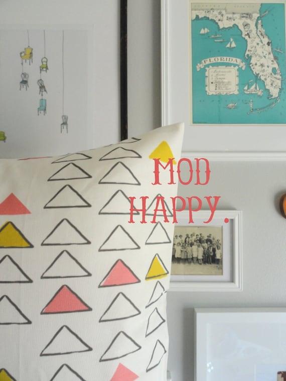 Designer Decorative Pillow Cover - Modern Multi Triangle - Throw Pillow Cover