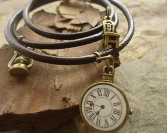 LEATHER WRAP BRACELET with clock, chair and lamp