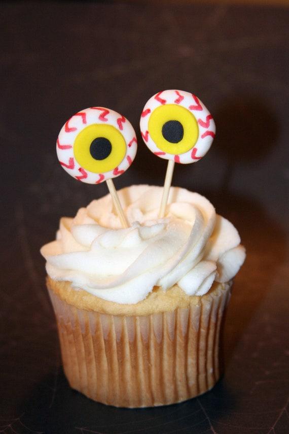 Fondant cupcake toppers Halloween Eyes Monster Alien