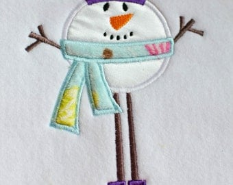 Skinny SNOWMAN APPLIQUE EMBROIDERY Design.  Instant Download