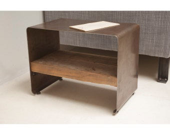 Reclaimed Wood and Steel 'Hudson' Side Table, Low Profile, Modern Form