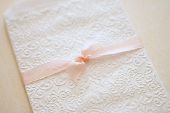 Gift Bags Embossed White Antique Lace Inspired Paper Gift Bags: Set of 10 Glassine Lined Candy Buffet Bags Wedding Favors Bridal Showers