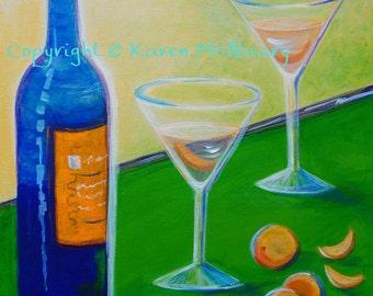 acrylic painting - ORIGINAL- Vodka and Oranges- restaurant, bar, art OOAK 16x20