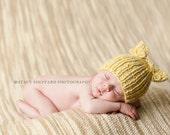 Handspun wool/silk Kitty ears hat