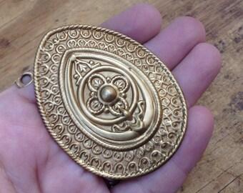 Vintage Brass Stamping Large Renaissance Moroccan