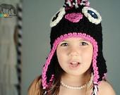 Penguin Crochet Hat, Black and Fushia Penguin Baby, Child, Teen