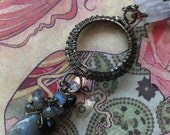 Gate of Rings Pendant - Gunmetal Wire with Labradorite, Moonstone and Black Tourmaline