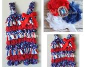 SALE Patriotic lace romper and headband SET, petti romper,baby headband, flower headband,vintage inspired headband and lace petti romper.