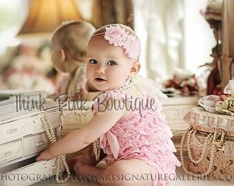 SALE Pink Petti lace romper. Petti romper, lace romper, romper, girls lace romper, Girls outfit, Smash cake outfit, pink lace romper.