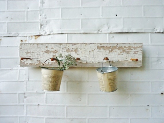 Antique Cottage Peg Rack with 2 Little Metal Buckets - from Salvaged Wood Door - 5 Square Peg Nail Hooks