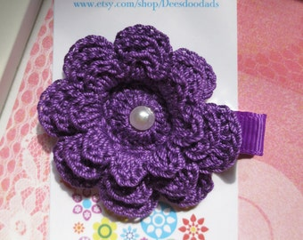 Purple Three Layer Crochet Flower Hair Clip