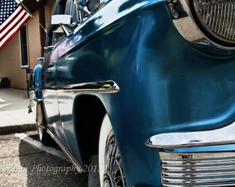 Classic 1953 blue Chevy with American flag color print