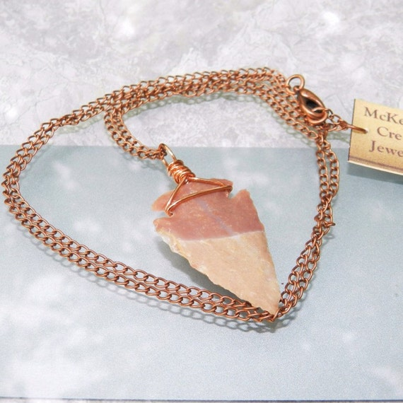 Arrowhead Necklace Wire Wrapped with Copper Mens or Unisex Necklace