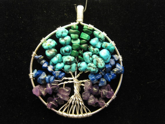 Celtic Tree of Life Pendant with assorted stone chips