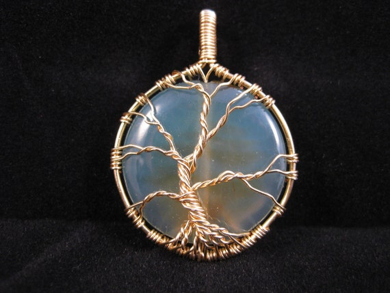 Tree of Life wire wrapped pendant with Blue Agate