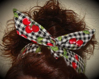 Dolly Bow Wire Headband Black Large Gingham with Cherries Pin up 40s 50s Retro Boho Flexible Teen Women Girls