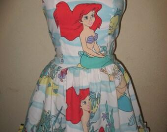 The Little Mermaid Under the Sea Ship wreck King Triton Sweetheart Ruffled Halter Strapless Mini Dress
