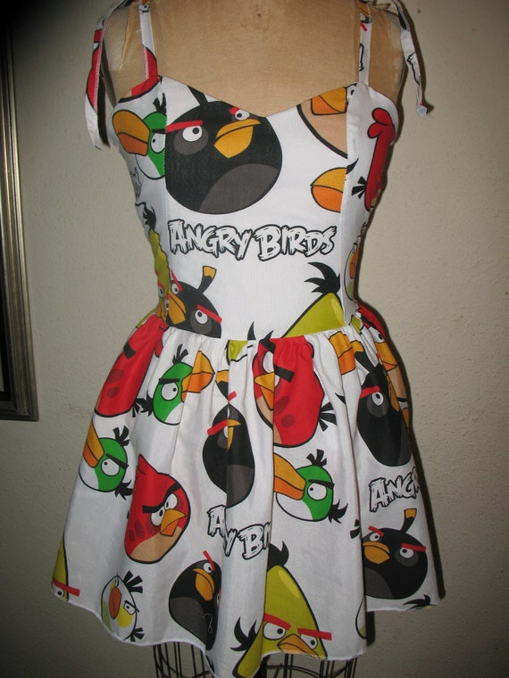 Custom Made to order Angry Birds SweetHeart tie straps Mini Dress