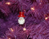 Snowman Head Button Christmas Tree Ornament with Red Top Hat - Proceeds Benefit Cancer Research