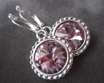 June Birthstone Earrings, Crystal Alexandrite Jewelry, Silver, Pale Purple Dangle Drop Earrings,