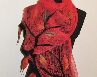 Nuno Felt Scarf, wrap OOAK Wearable Art,  Summer Shawl,  Made to Order