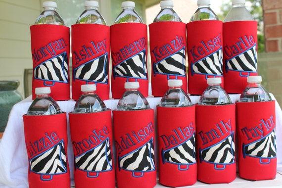 Custom Personalized Monogrammed Cheer Megaphone Water Bottle Koozie