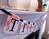 Halloween Decoration Trick Or Treat  Banner, Garland, Sign, Halloween Party Home Decor, Orange and Black