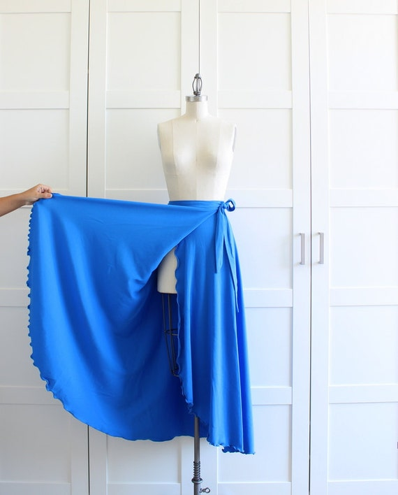 Vintage Wrap Skirt, Blue Fishtail Polyester Maxi Skirt, size Medium RESERVED