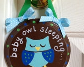 Baby Boy Owl Sleeping Sign- Door Hanger - Baby Shower Gift- Newborn