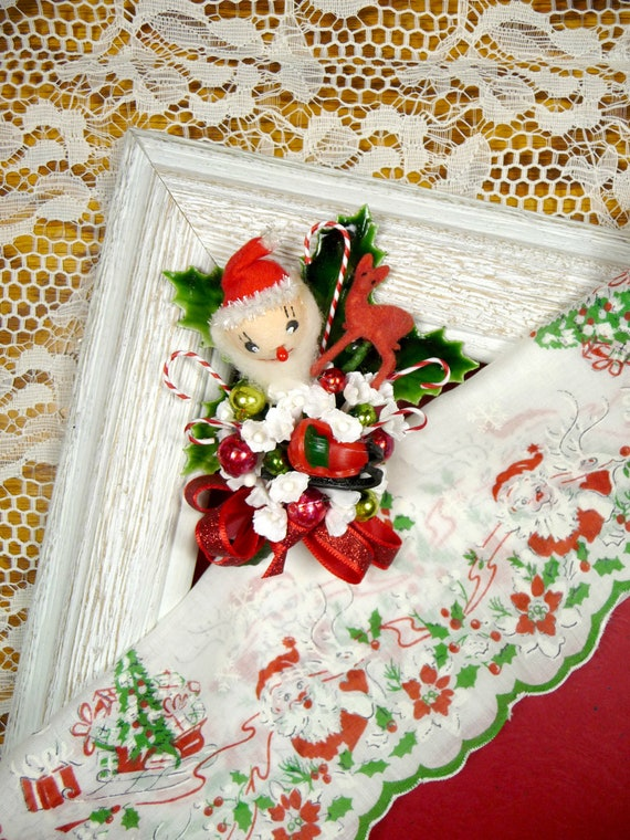 Vintage Christmas Hankie and Spun Cotton Santa Reindeer Sleigh Corsage Pin Gift Set Stocking Stuffer