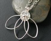 Petals Necklace - Sterling Silver Petals Pendant Necklace. Flower/Floral/Feminine