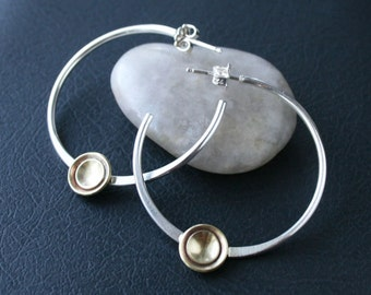 Mixed Metal Hoops - Sterling Silver Hoops with Brass Disc Accent