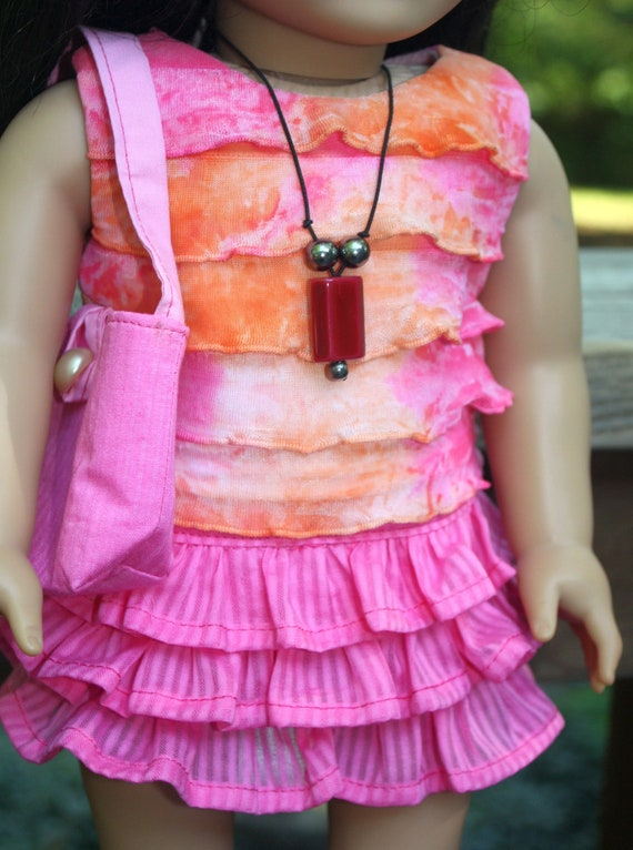 Pink Ruffled Shirt and Skirt includes purse and necklace
