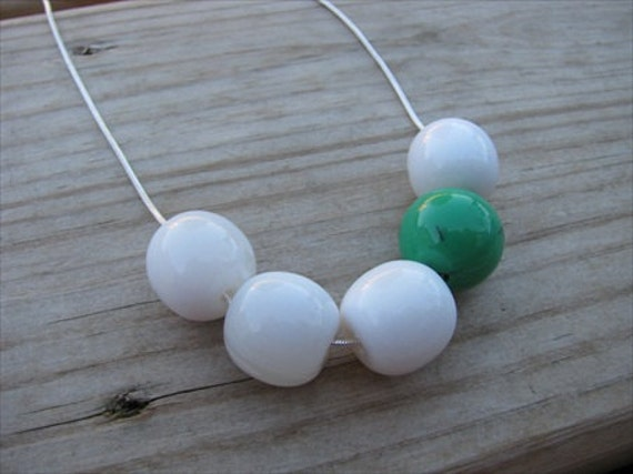 SALE- Green and White Asymmetrical Necklace- ONLY 1 AVAILABLE