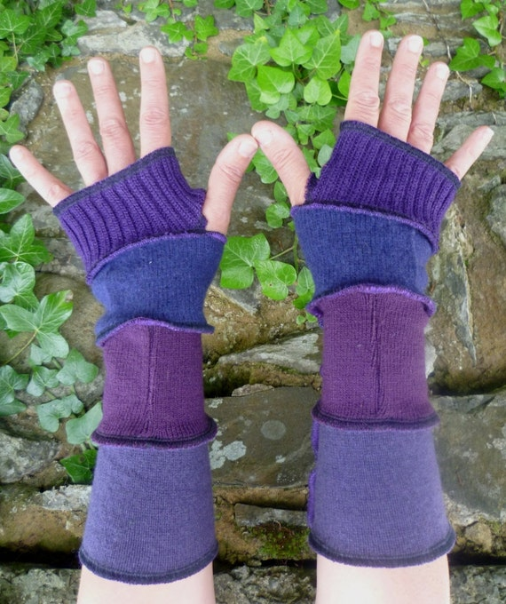One of a kind arm warmers fingerless gloves from recycled sweaters purple by SpiralGypsy