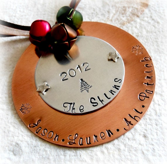 Personalized metal christmas ornaments by thehandstampedheart