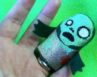 Embroidered Zombie Finger Puppet