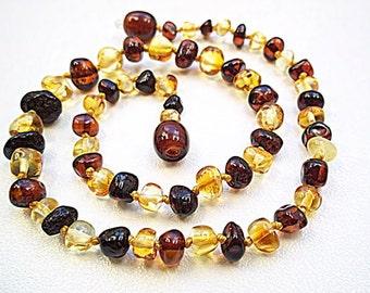 Baroque Multicolor Baltic Amber Baby  Teething Necklace.