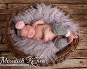 Crochet Baby Leg Warmers and Headband Set Newborn Heather Grey/Soft Pink - MADE TO ORDER