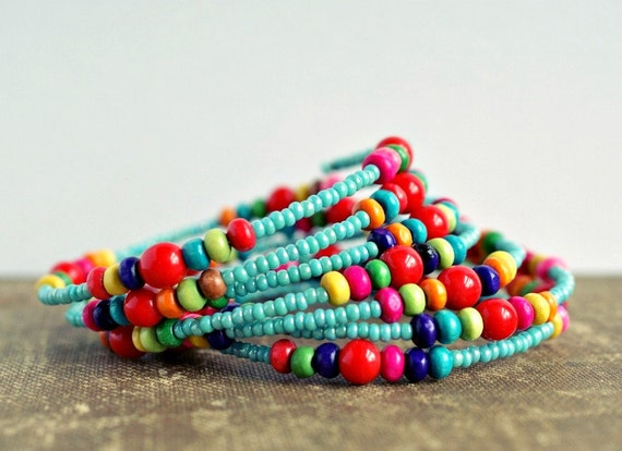 HOLIDAY SALE (see shop announcement) colorful beaded memory wire bracelet aqua and red rainbow