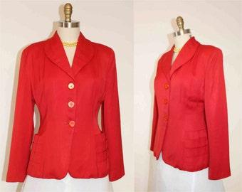 1940s Deanna Dee Red Rayon /Gaberdine Long Sleeve Blazer  Size L