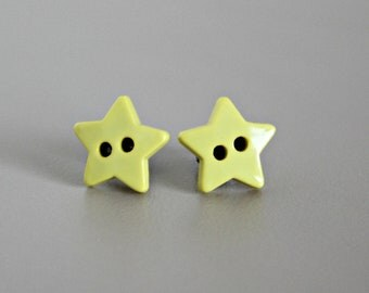 Star Earrings, Yellow Star Button Post Earrings, Hypoallergenic Titanium Posts