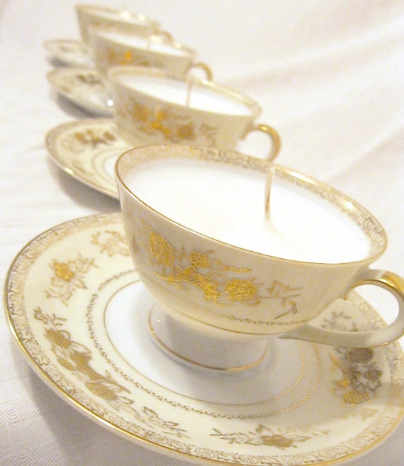 R  E  S  E  R  V  E  D       Set of Two Gold and White Tea Cup Candles--Unscented