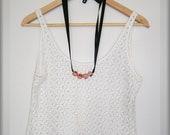 Ceramic beads and black satin ribbon adjustable necklace