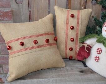 Winter Burlap Pillows, Burlap Throw pillow, jingle bells pillow, red jute pillow, burlap pillow, couch pillow, porch pillow, christmas gift