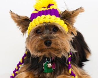 Purple and Yellow - Knit Dog Hat - Small or Medium