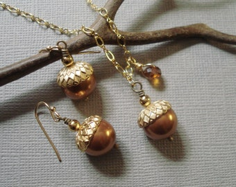 Acorn Copper  pearl Gold Necklace & Earring Set-Fall/Autumn Jewelry, Fall/Autumn Necklace and Earring SET, Bridal/Weding Jewelry