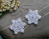 Lace Earrings: White Silver Snowflakes with Swarovski Crystal AB